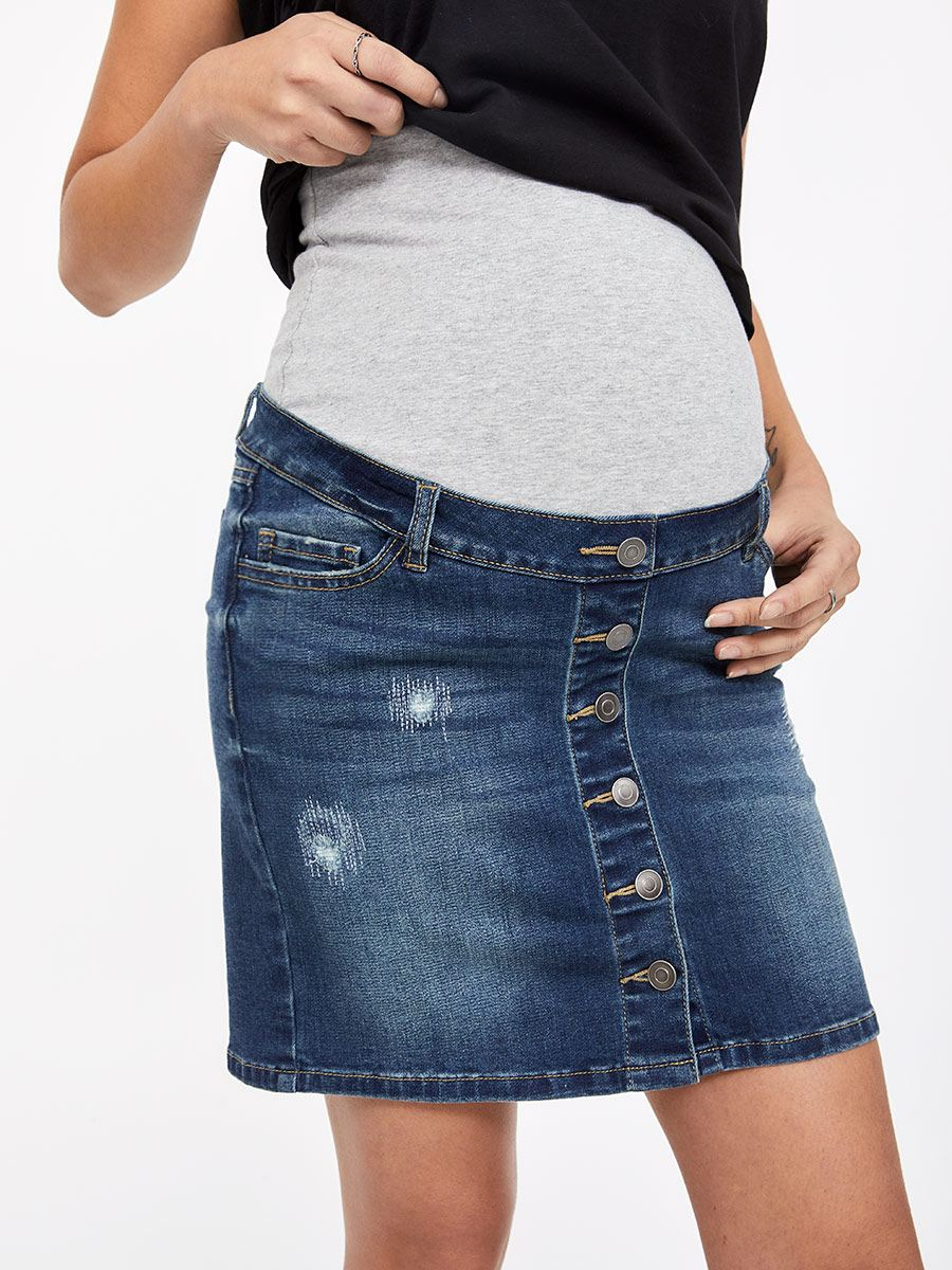 Distressed Medium Blue Denim Maternity Skirt