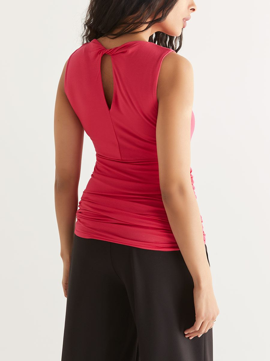 Ruched Maternity Top with Back Keyhole
