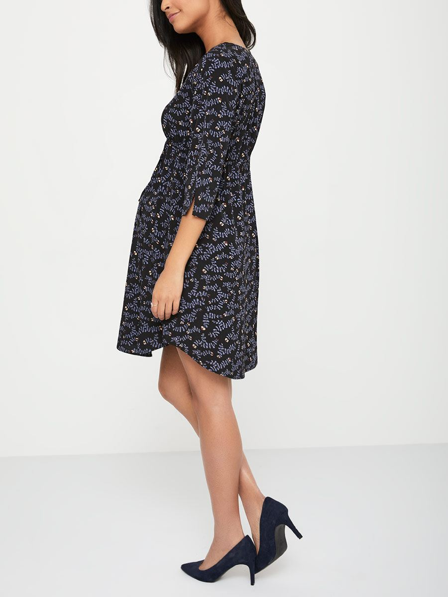 Stork & Babe - Printed 3/4 Sleeve Maternity Dress with Buttons