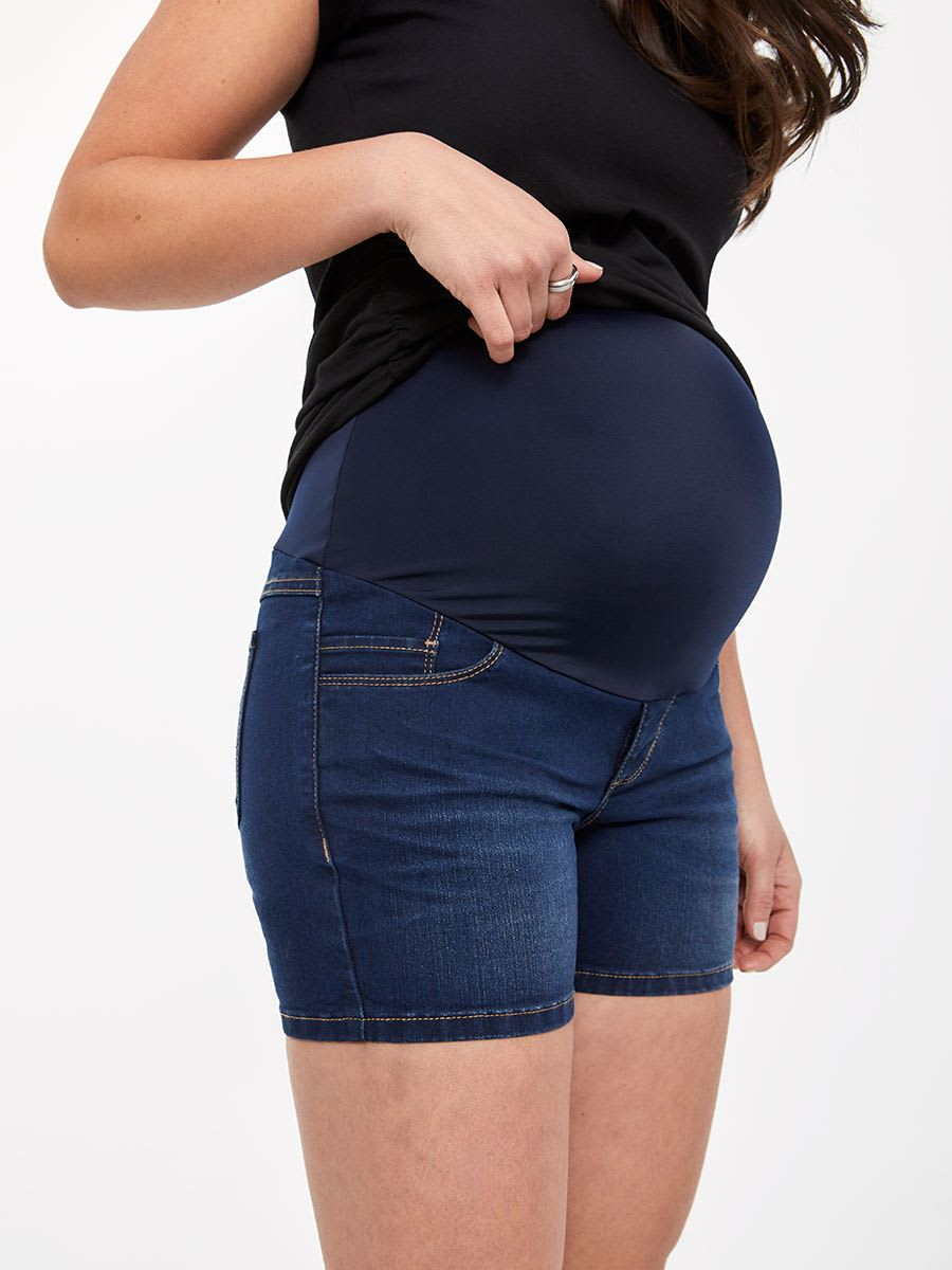 56f4f78c042bf Dark Wash Slim Fit Maternity Denim Short | Thyme Maternity