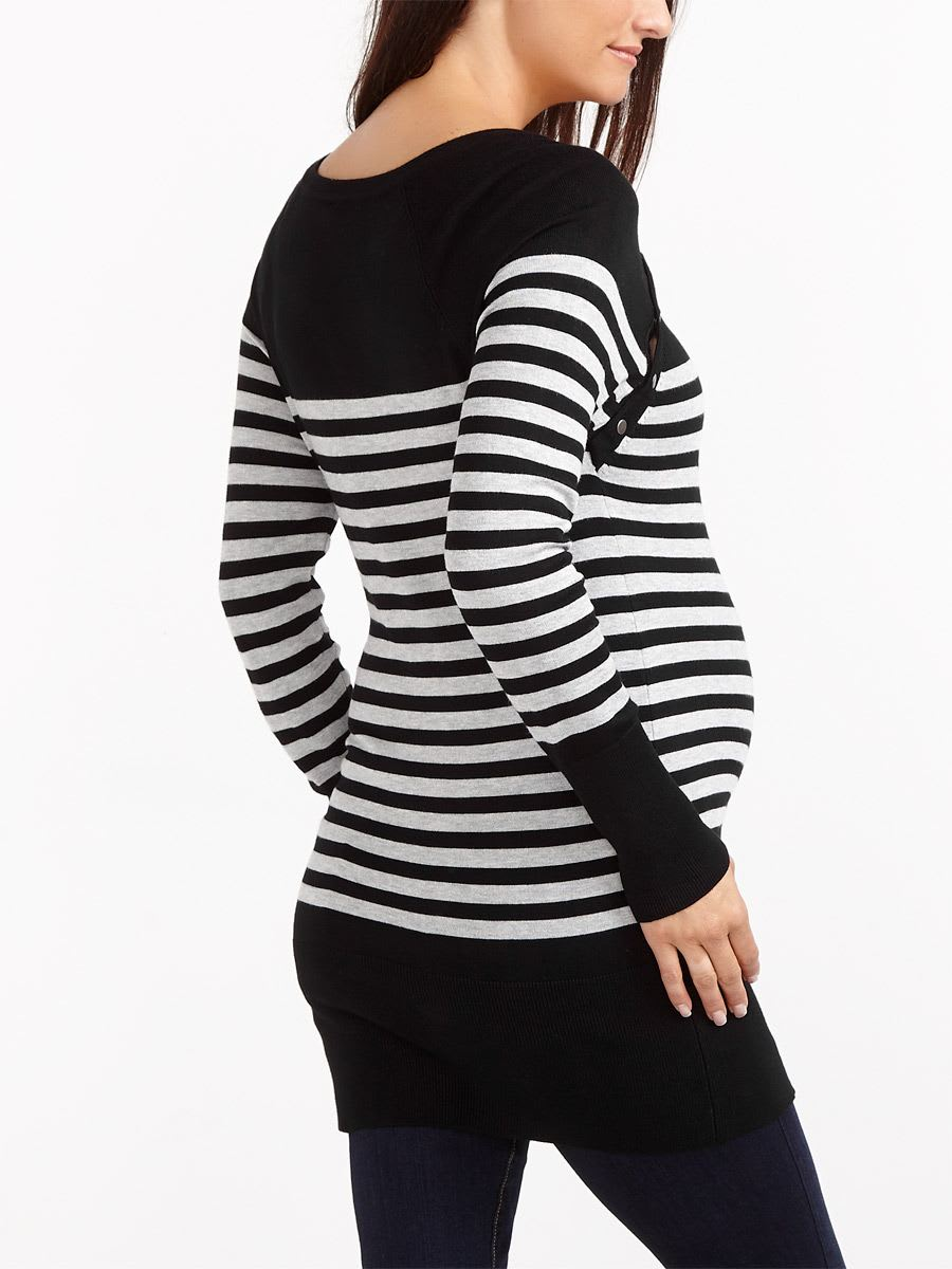 Long Sleeve Striped Nursing Tunic
