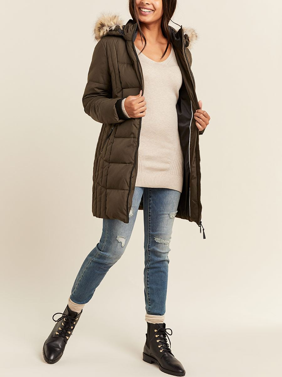 Manteau long de maternité matelassé