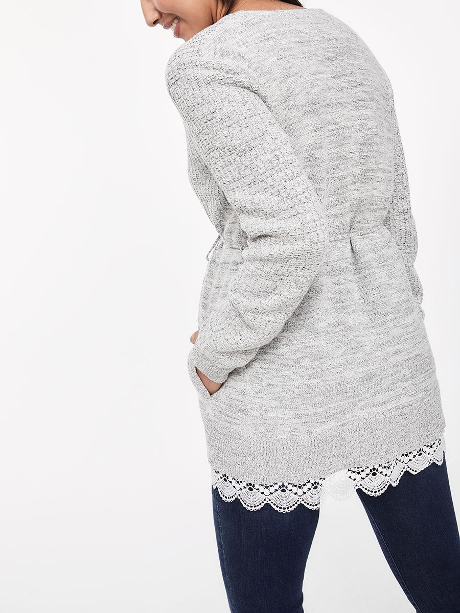 Long Sleeve Maternity Cardigan with Crochet