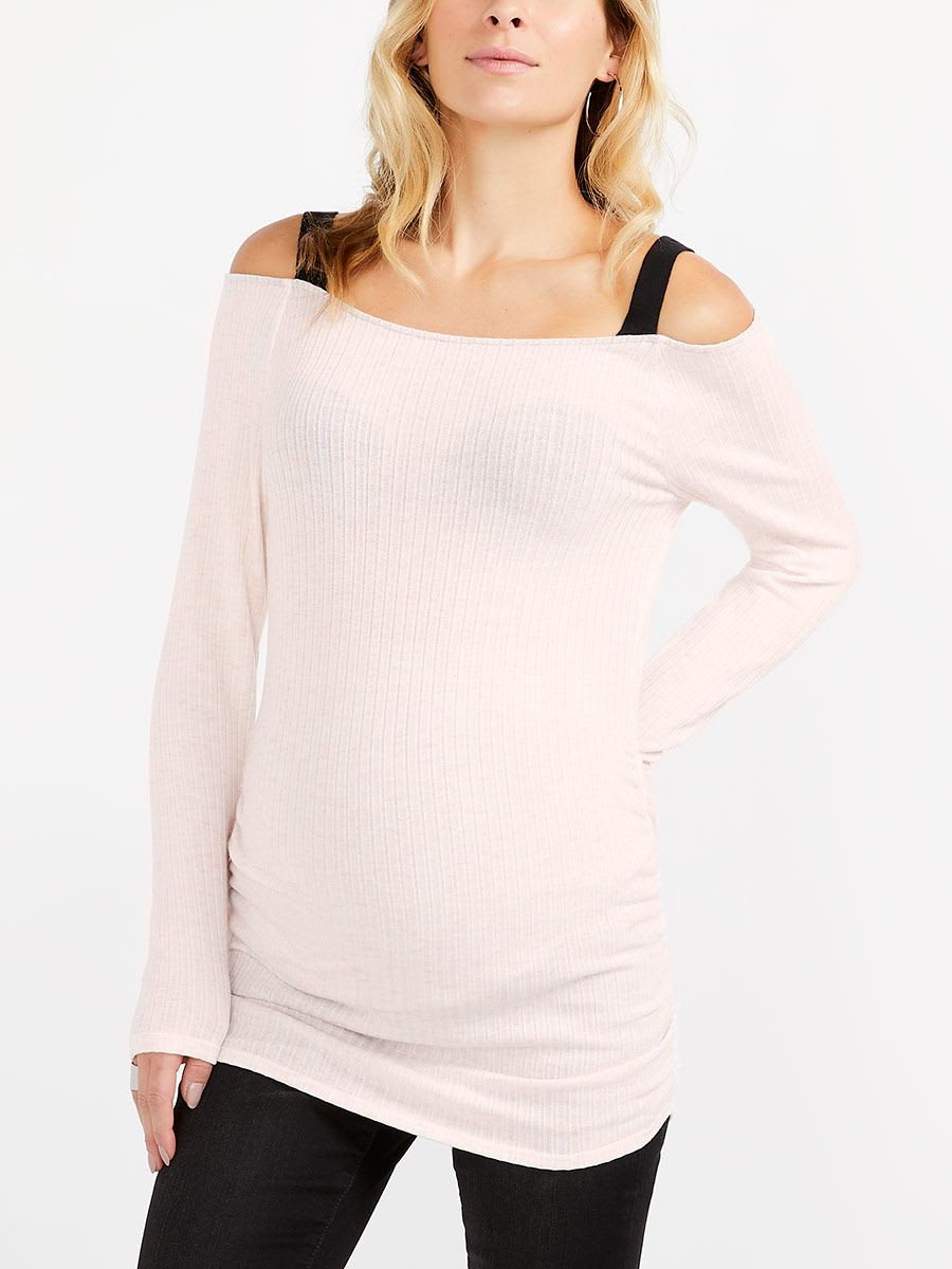 6608f301791 Long Sleeve Maternity Off Shoulder Top | Thyme Maternity