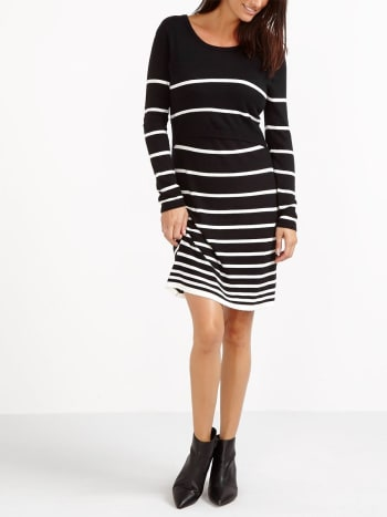 Long Sleeve Striped Nursing Sweater Dress