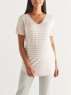 Striped V-Neck Maternity Top