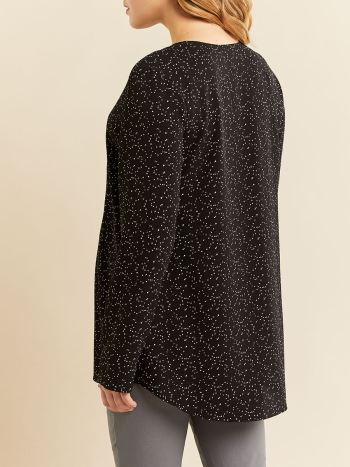 Stork & Babe - Printed Long Sleeve Popover Maternity Blouse