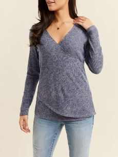 Ribbed Long Sleeve Crossover Nursing Top