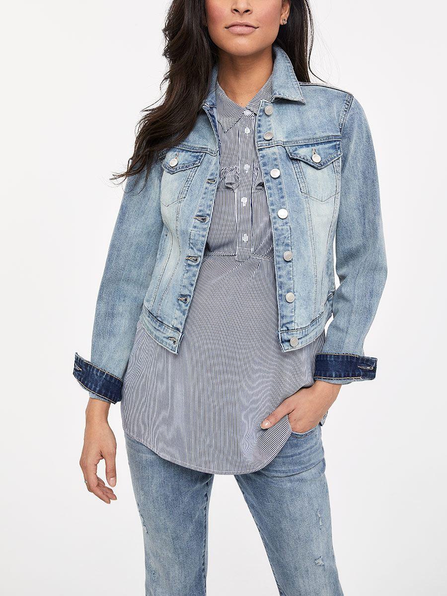 92bb5c69f6a4a Light Blue Maternity Jean Jacket | Thyme Maternity