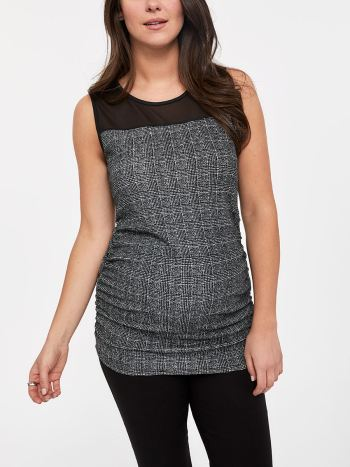 Stork & Babe - Printed Sleeveless Maternity Top with Mesh Yoke