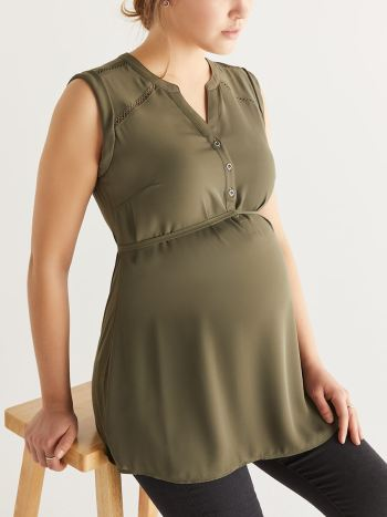 53adb2d1e Sleeveless Mixed Media Maternity Blouse