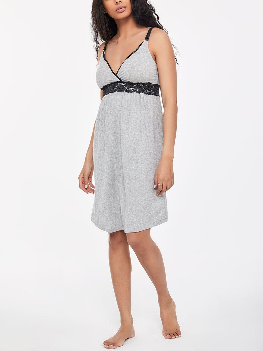 Crossover Nursing Nighty with Lace