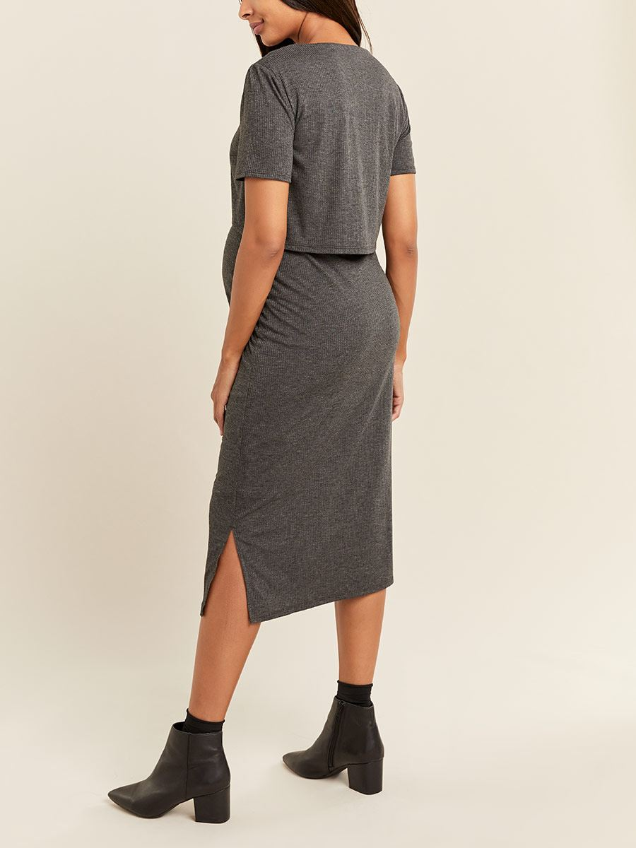 Ribbed Scoop Neck Nursing Dress