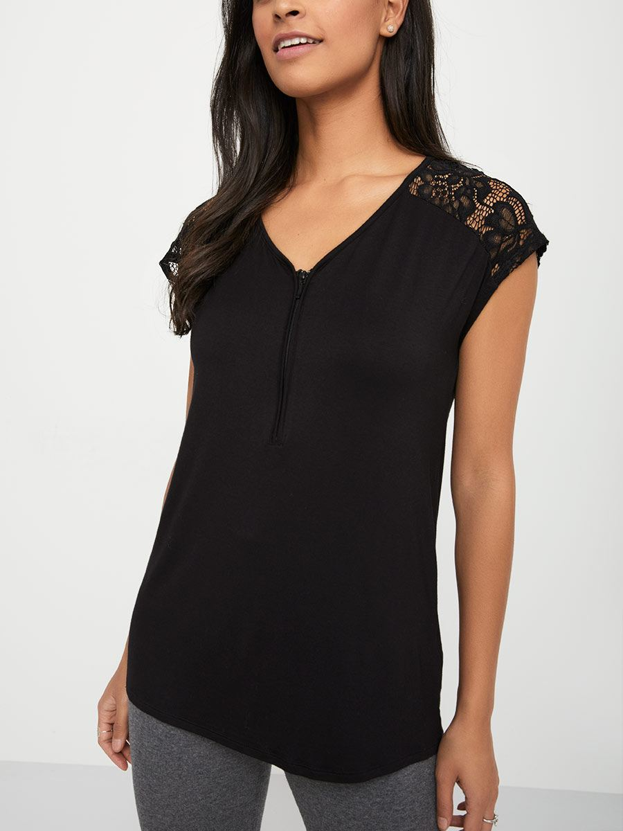 83499152593 Short Sleeve Lace Nursing Top | Thyme Maternity