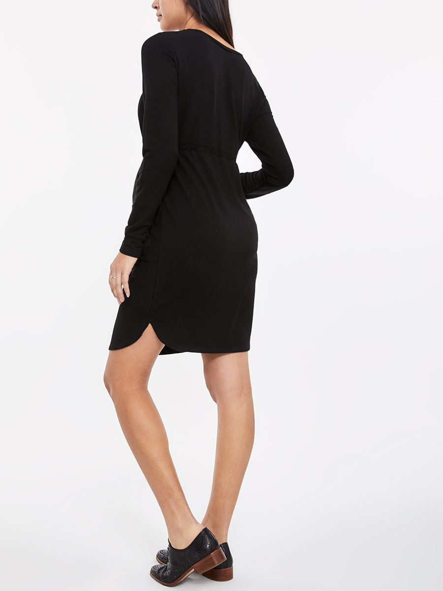Long Sleeve Short Dress with Front Pockets and Belt