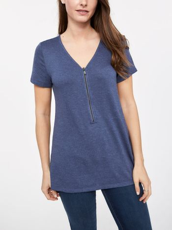 Short Sleeve Nursing Top with Exposed Front Zip