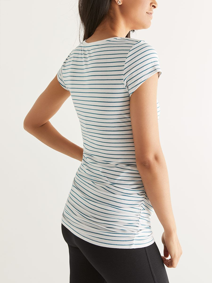 Ruched Striped Maternity T-Shirt