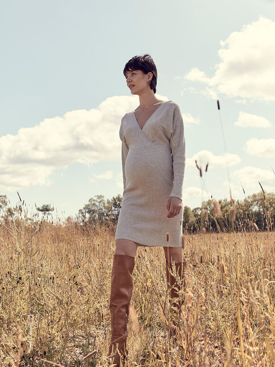 Stork & Babe - Long Sleeve Wrap Maternity Sweater Dress
