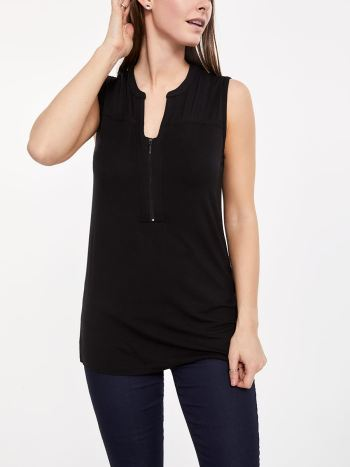 Sleeveless Nursing Top with Crochet and Pintuck Detail
