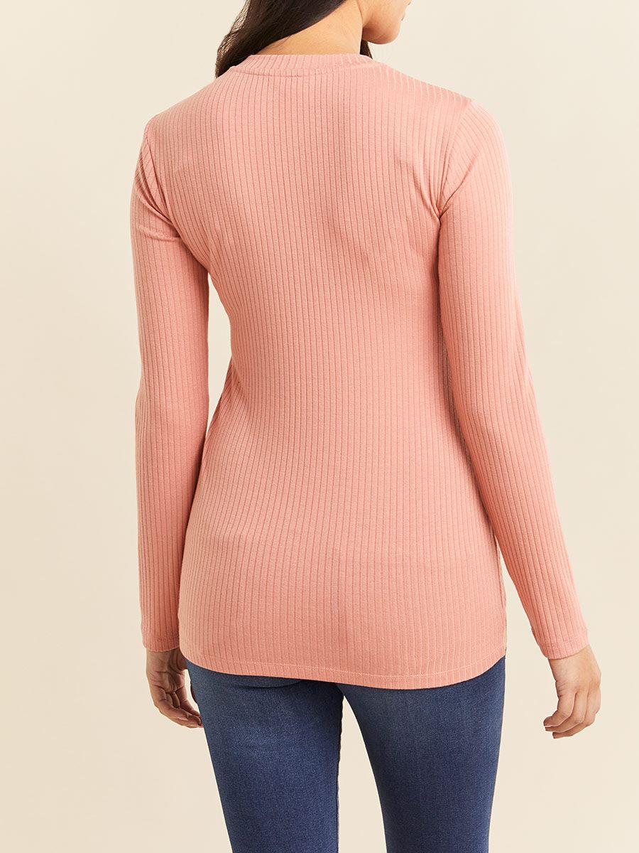 Long Sleeve Ribbed Mock-Neck Maternity Top