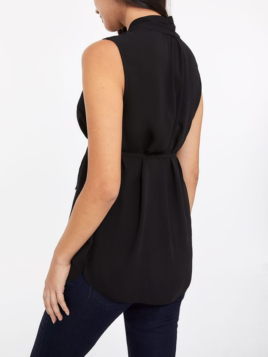 Stork & Babe - Sleeveless Pleated Maternity Blouse with Buttons