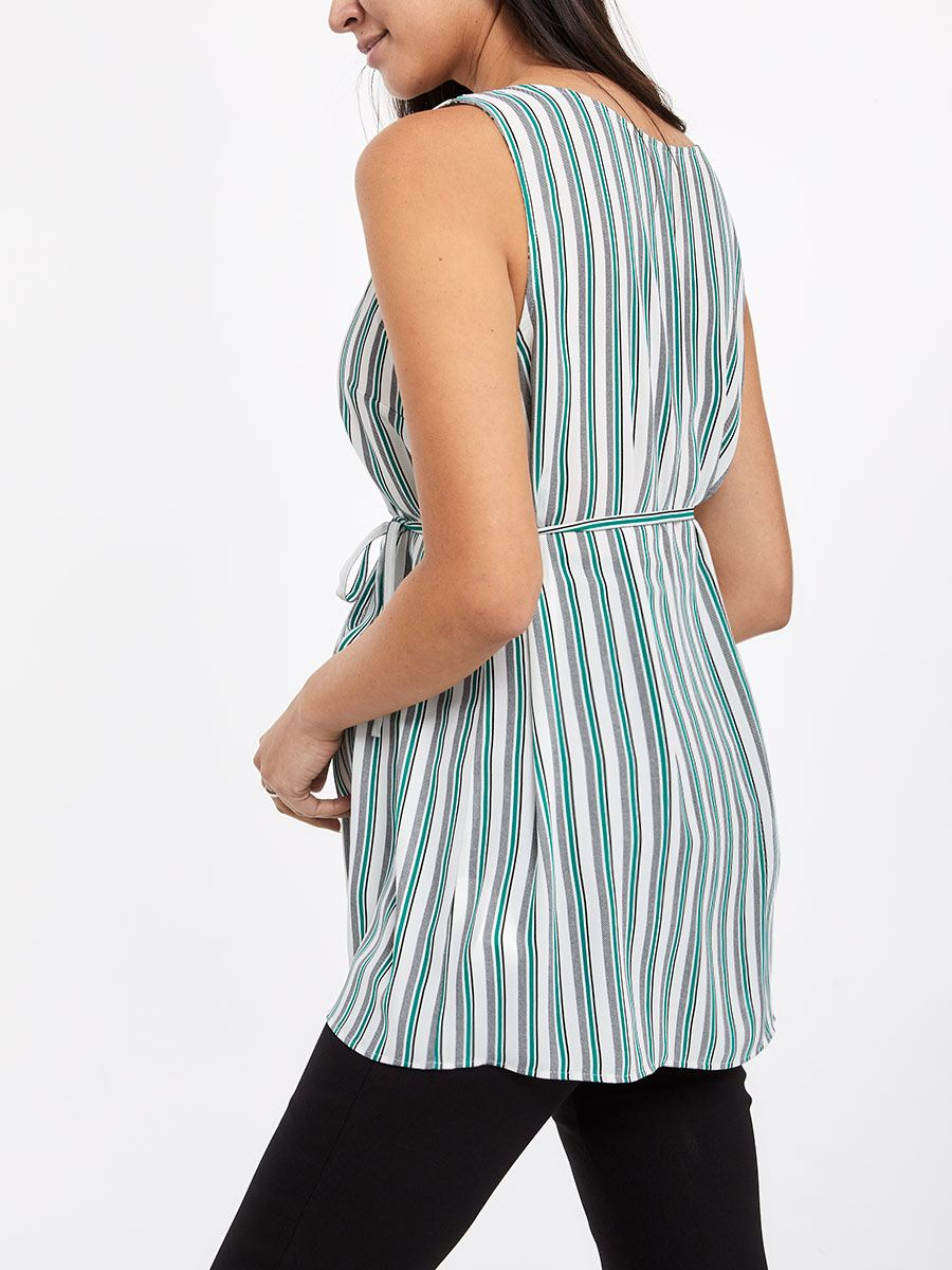 Stork & Babe - Printed Sleeveless A-Line Maternity Blouse