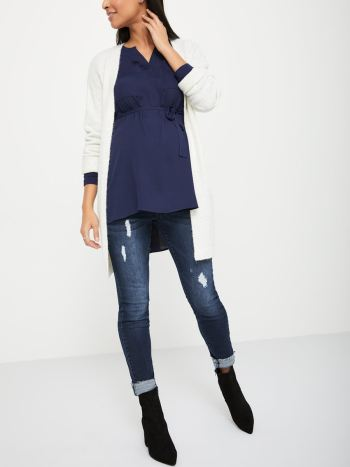 Long Sleeve Maternity Blouse with Pockets