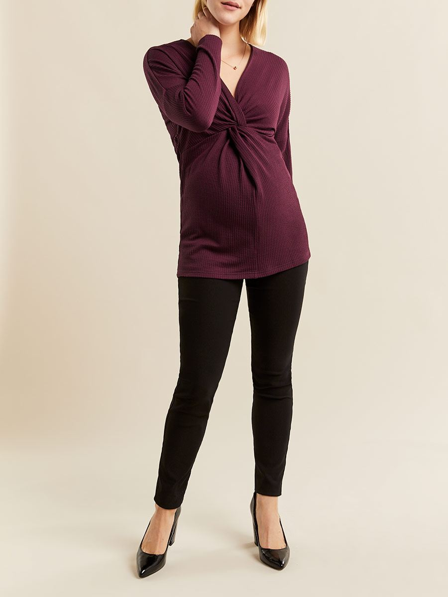 Stork & Babe - Long Sleeve Front Knot Maternity Top