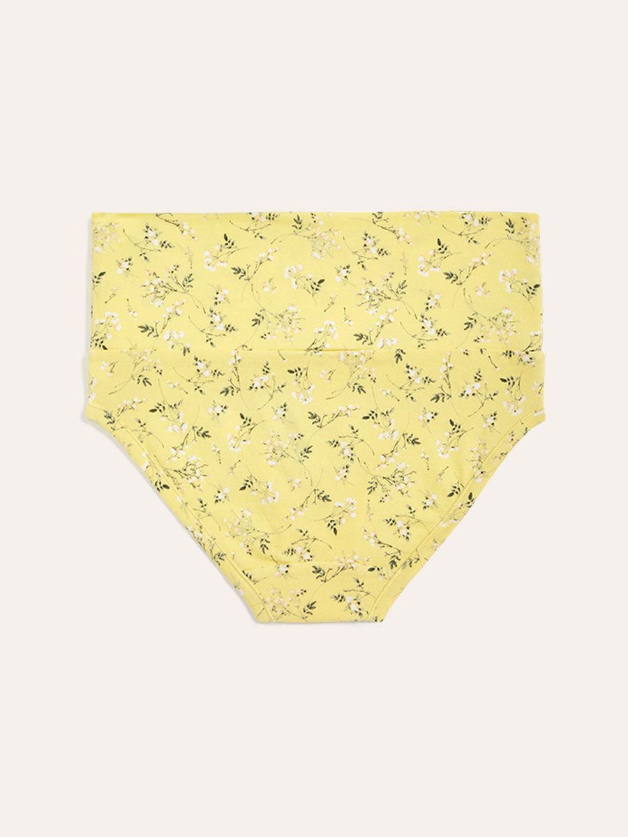 Foldover Maternity Brief Panty with Floral Print