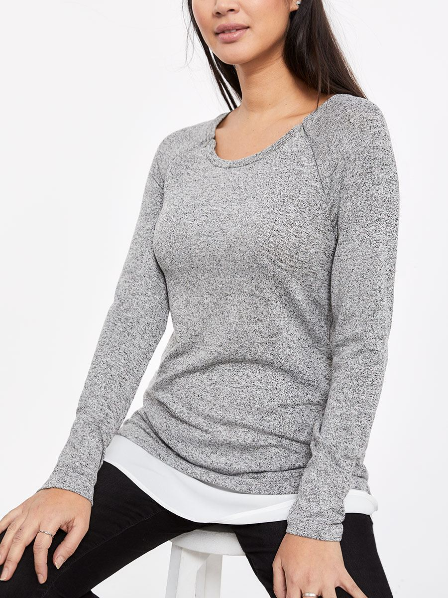 Long Sleeve Nursing Top with Woven Detail
