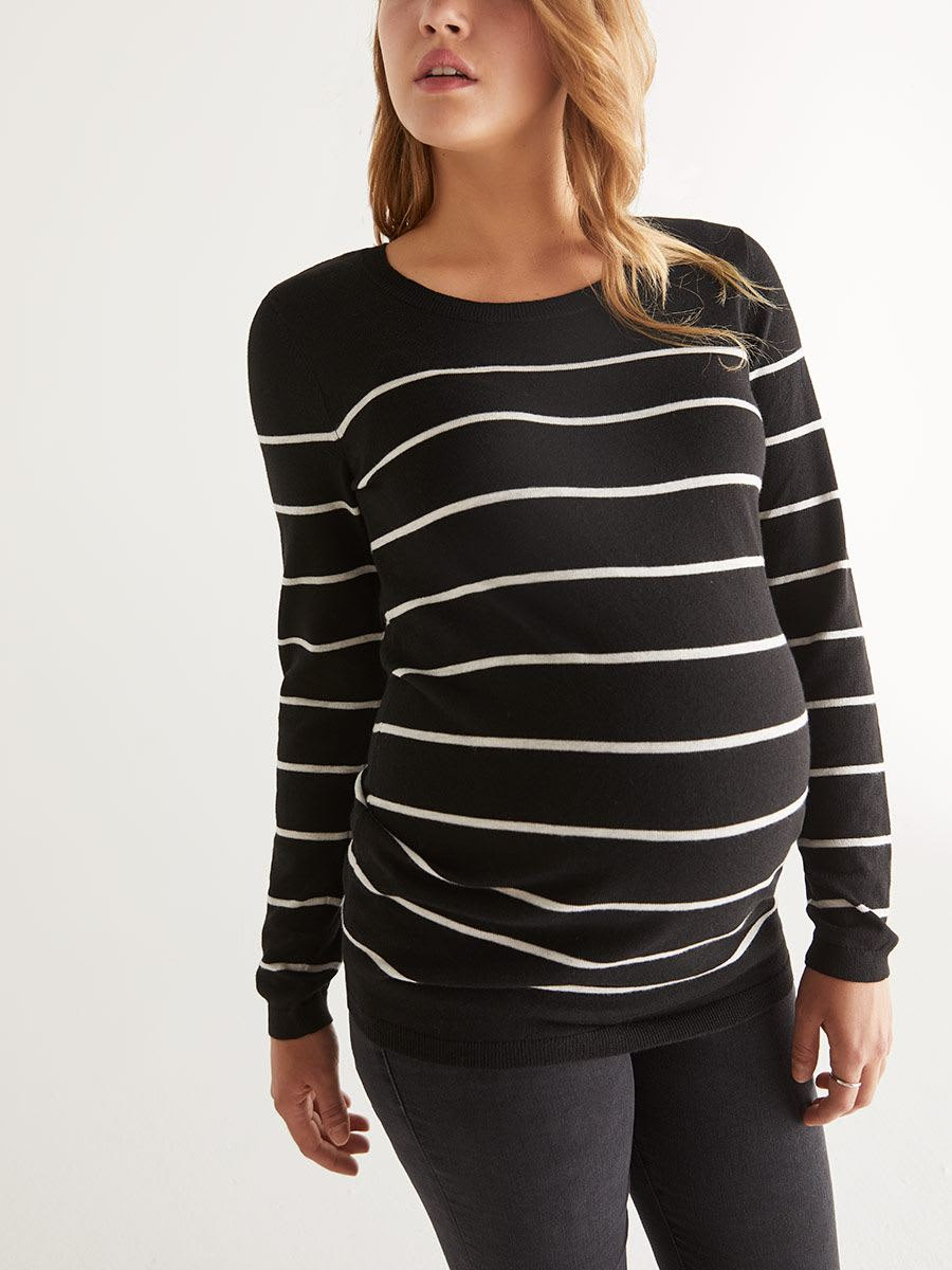Stork & Babe - Striped Scoop Neck Maternity Sweater