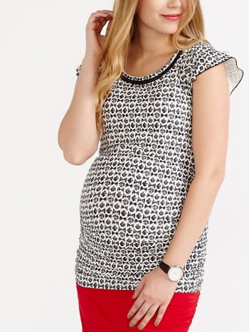 Stork & Babe - Flutter Sleeve Printed Maternity Top