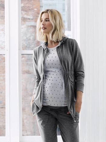 Long Sleeve Maternity Hoodie with Front Zip