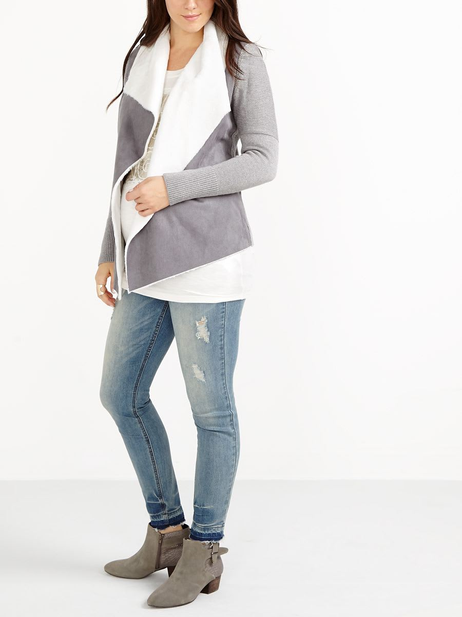 Long Sleeve Maternity Cardigan with Sherpa