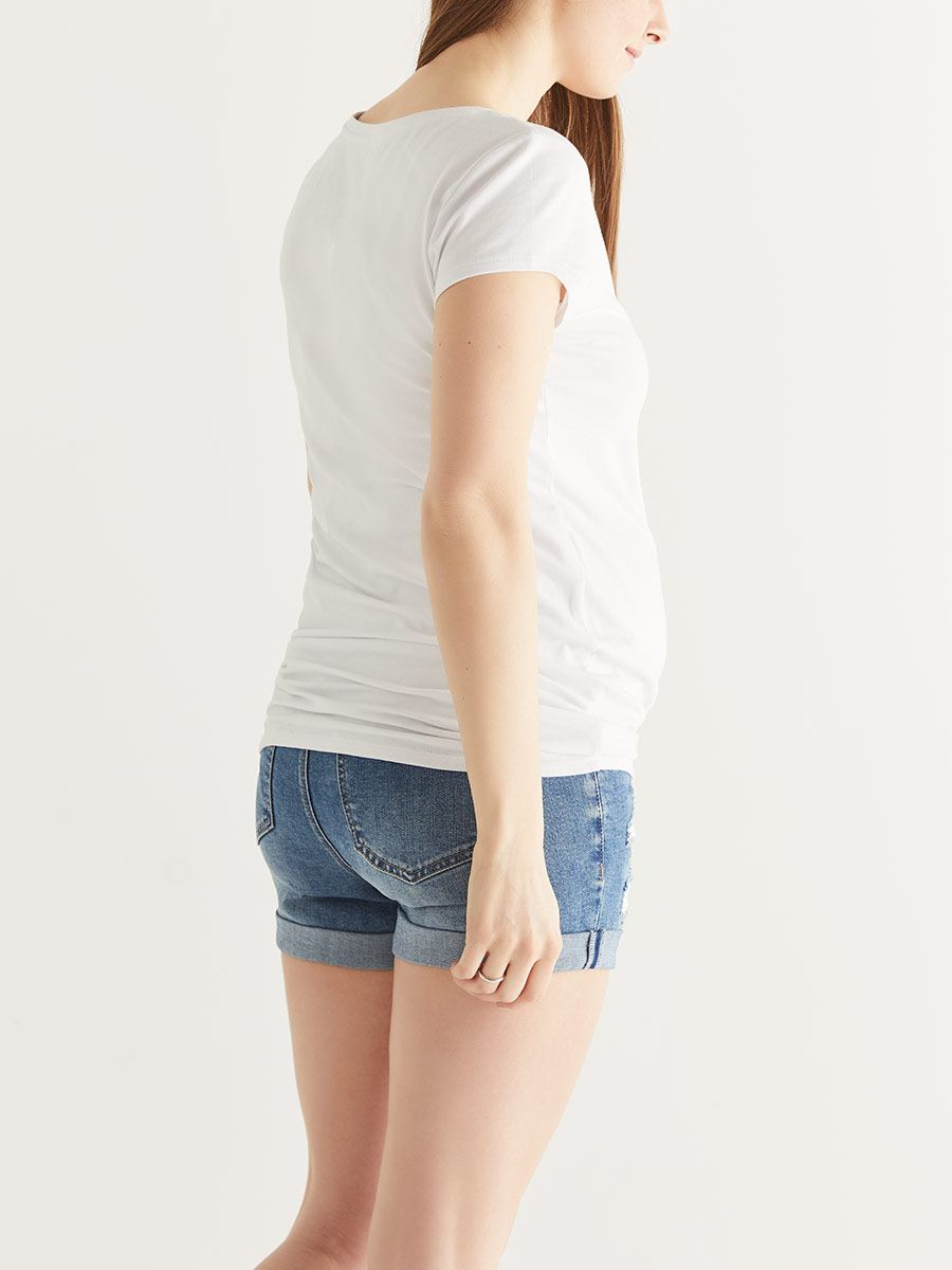 Distressed Maternity Jean Short