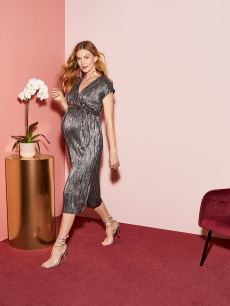 Shiny Pleated Wrap Maternity Dress
