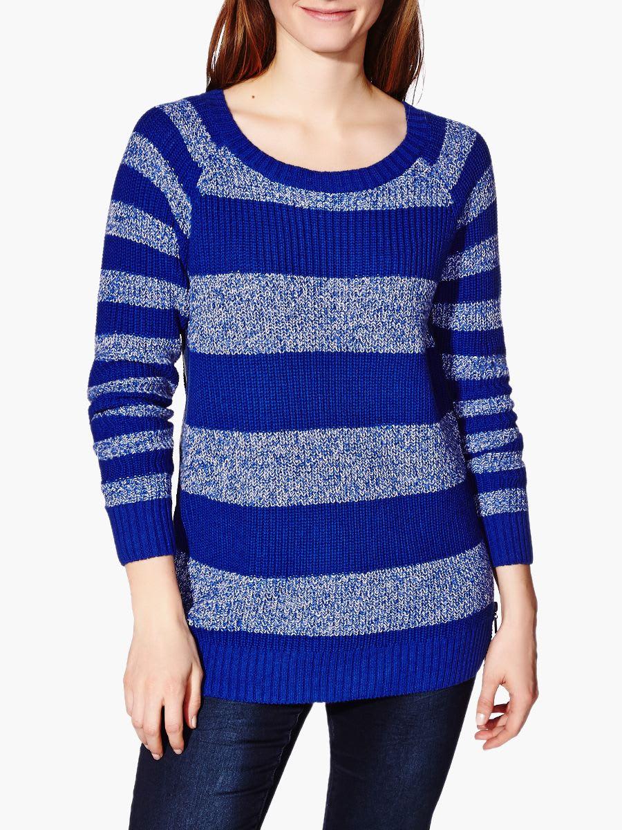 18155813f Long Sleeve Striped Knit Nursing Sweater