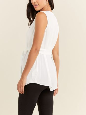 Stork & Babe - Sleeveless Henley Maternity Blouse