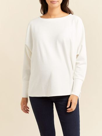 Textured Dolman Sleeve Boat-Neck Maternity Top
