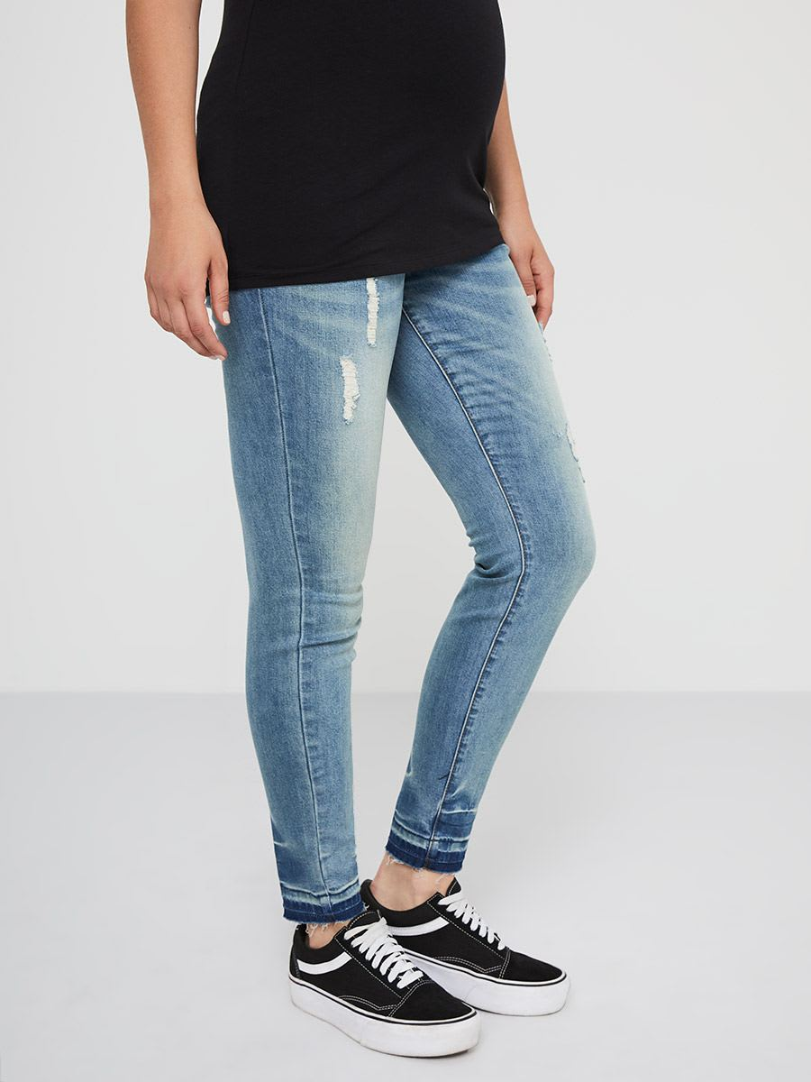 Distressed Super Skinny Maternity Jean
