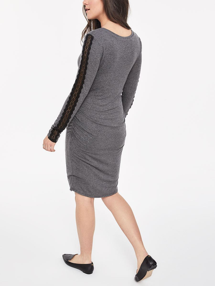 Stork & Babe - Long Sleeve Maternity Dress with Sleeve Lace