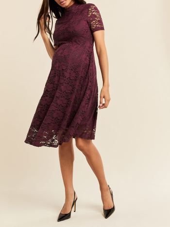 Lace Mock Neck Maternity Dress