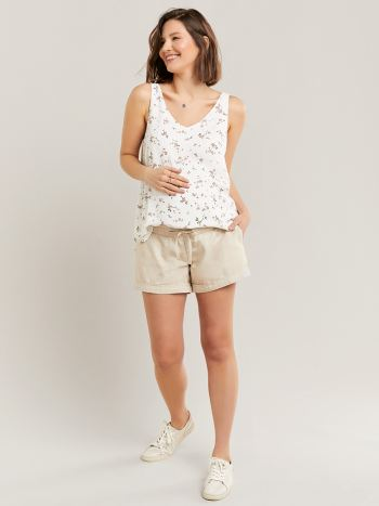 Linen Maternity Short with Rolled Cuff