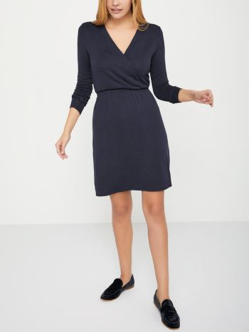 Long Sleeve Crossover Maternity Knit Dress