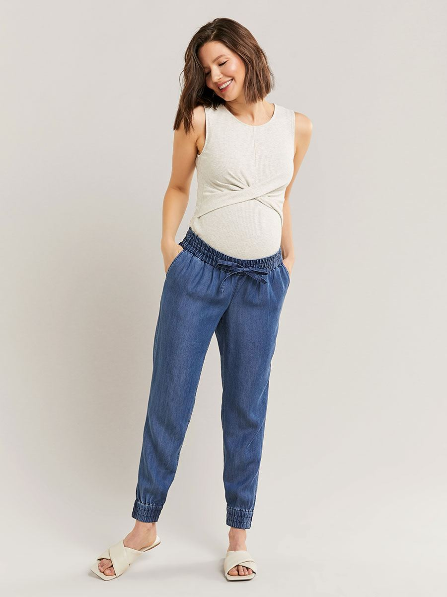 Blue Maternity Pant with Smocking Details