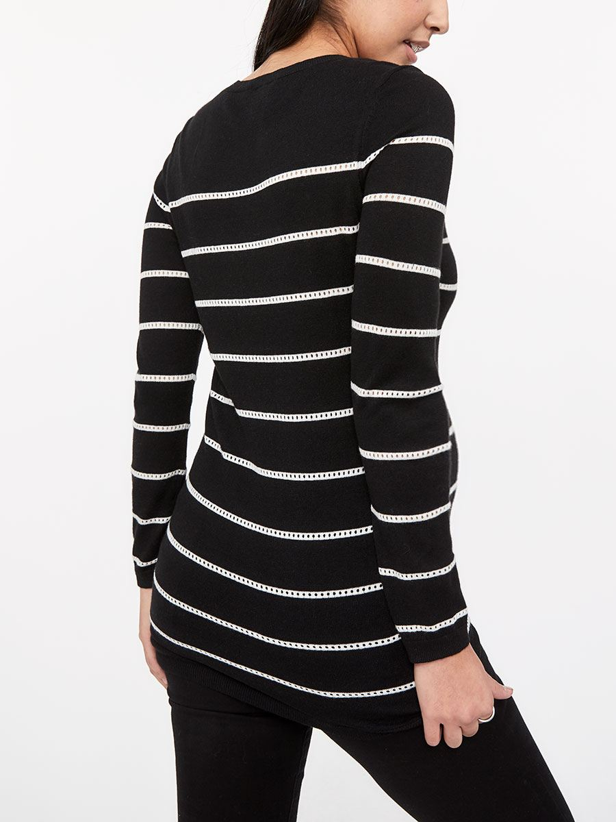 Stork & Babe - Striped Maternity Sweater with Pointelle Stitching