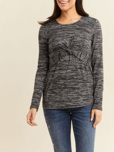 Long Sleeve Front Knot Nursing & Maternity Top