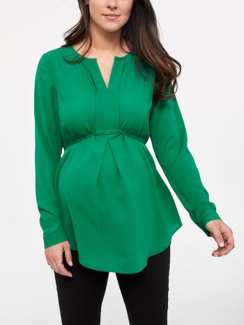 Stork & Babe - Long Sleeve Pleated Maternity Blouse with Belt