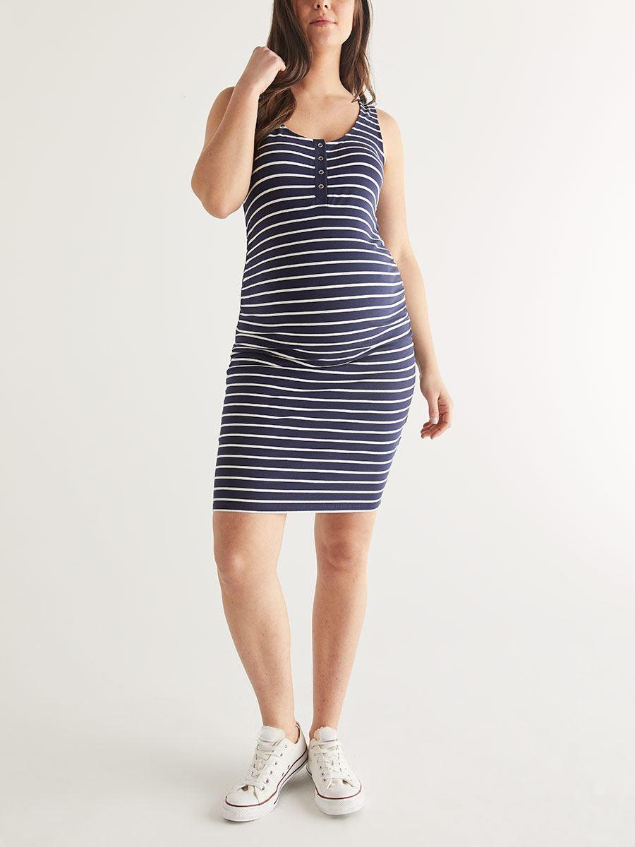 7a4c098b0b602 Striped Henley Sleeveless Maternity Dress | Thyme Maternity