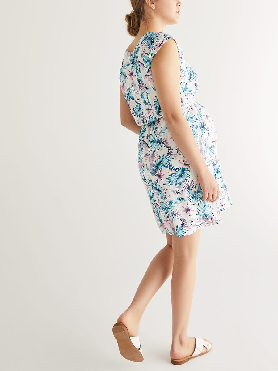 Sleeveless Printed Nursing Dress